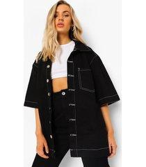 oversized spijkerblouse met contrasterende stiksels, black