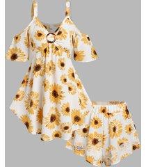 flower print cold shoulder blouse and mini shorts set