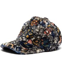 floral print lambskin cap