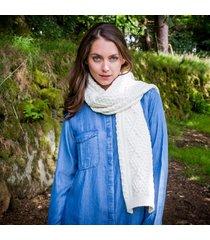 ladies' cashmere blend aran scarf cream one size