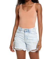 women's bdg urban outfitters drew ribbed scoop neck bodysuit, size x-small/small - pink