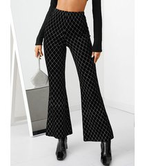 yoins pantalones acampanados geométricos de terciopelo negro