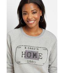 maurices womens gray north dakota crew neck sweatshirt