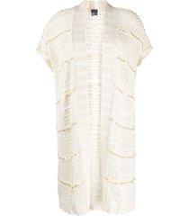 lorena antoniazzi open-knit short-sleeved cardi-coat - neutrals