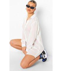 oversized blouse jurk met lange zoom, wit