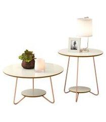 conjunto mesa centro e apoio liz com pés de ferro off white / freijo - rpm móveis