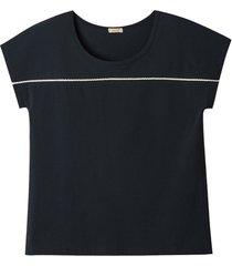 shirt van bio-katoen met kant, zwart 44/46