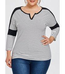 plus size split neck striped tee