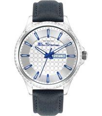 ben sherman men's dark blue genuine leather strap classic three hand watch, 43mm