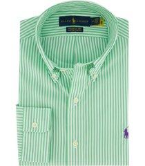 gestreept overhemd ralph lauren groen slim fit