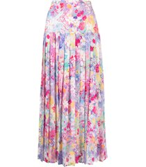 rixo spring meadow print pleated skirt - pink
