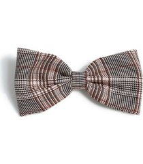 mens brown check bow tie*