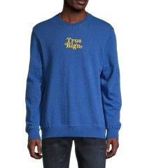 true religion men's logo-embroidered sweatshirt - heather blue - size m
