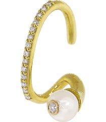 kat kim 18kt gold diamond crescendo pearl pavé ear cuff