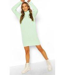 sweatshirt jurk met col, lichtgroen