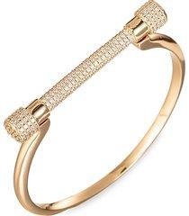 eye candy la women's kyle titanium & cubic zirconia screw cuff bracelet