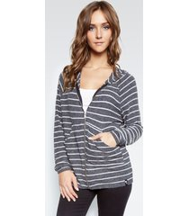 coleman zip up hoodie - l black white stripe
