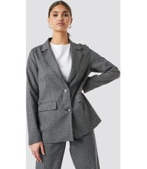 na-kd classic dogtooth raw edge blazer - grey
