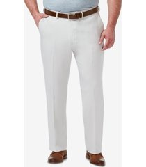 haggar men's big & tall premium comfort stretch classic-fit solid flat front dress pants