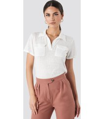 trendyol collar pocket detailed tee - white