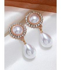 pendientes geométricos de perlas simples