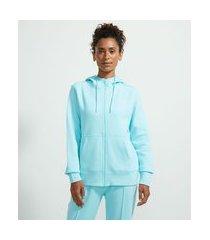 jaqueta esportiva básica em moletom com capuz e bolso canguru | get over | azul | g