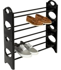 honey can do 4-tier black lightweight plastic shoe rack with circle patterns
