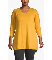 lane bryant women's lane essentials 3/4-sleeve high-low tunic 14/16 sunflower
