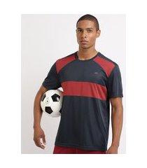camiseta masculina esporte ace futebol com recortes manga curta gola careca azul marinho