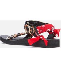 arizona love women's trekky bandana sandals - leopard print red - uk 8