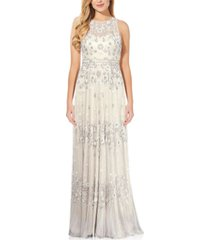 adrianna papell beaded illusion-neck bridal gown