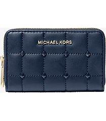 mk portafoglio piccolo trapuntato con borchie - navy (blu) - michael kors