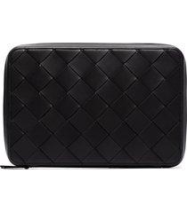 bottega veneta woven-style pouch bag - black