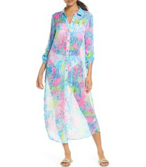 women's lilly pulitzer natalie cover-up maxi shirtdress