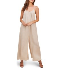 women's astr the label suraya wide leg jumpsuit, size medium - beige