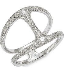 saks fifth avenue women's 14k white gold & diamond cutout ring/size 7 - size 7