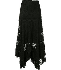 alexis yarelli lace asymmetric skirt - black