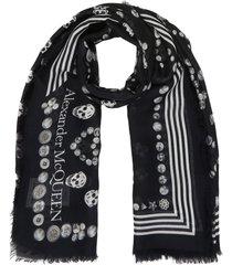 jewel graphic print skull motif silk scarf