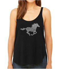 la pop art women's premium word art flowy tank top- horse breeds