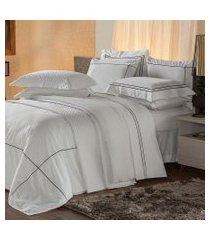 jogo de cama solteiro plumasul premium harmonious 3 pçs bordado preto