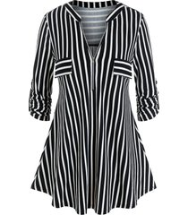 plus size striped zip roll up sleeve tunic tee
