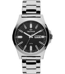 relógio masculino technos 2305ax/1p 43mm aço
