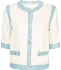 chanel pre-owned seven-length denim wearing cardigan - white
