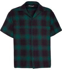 green plaid print shirt