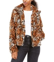 jou jou juniors' faux fur animal print jacket