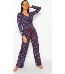 mix & match candy cane pyjama broek, black
