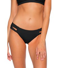 women's soluna clear skies full moon cutout bikini bottoms, size medium - black