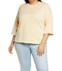 plus size women's treasure & bond elbow sleeve sweatshirt, size 3x - brown