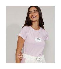 "camiseta feminina manga curta lembrete"" decote redondo lilás"""