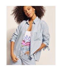 camisa jeans feminina emi beachwear manga longa com amarração azul claro